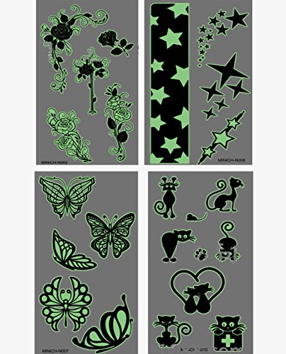 4 Sheets Glow in the Dark Body Paints Temporary Tattoos Black Lace Stickers for Girls and Women with GIFT (Black) -