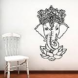 Elephant Wall Decal Vinyl Stickers Yoga Ganesh Om Lord Hindu Success Decals Tribal Buddha Om Lotus Home Decor Indie Elephant Wall Art Boho Bedding Bedroom ZX107