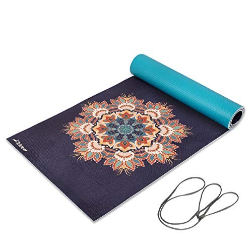 Trideer Premium Printed Yoga Mat, 1/4 Extra Thick Non-Slip Eco-Friendly Anti-Tear 6mm Floor Pilates Exercise Mat for Yoga, Workout, Fitness with Carrying Strap (Ancient Legend)