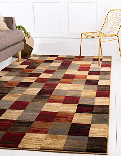 (Unique Loom Barista Collection Modern Checkered Contemporary Multi Area Rug (9' x 12'))