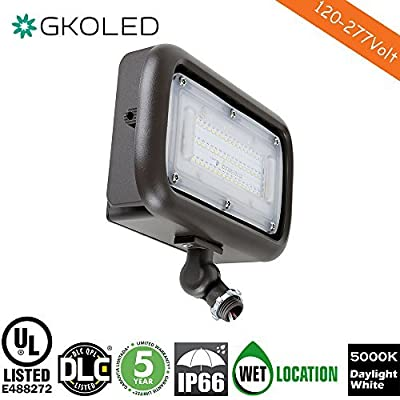 "GKOLED 45W Outdoor Security LED Flood Lights, Waterproof, 150W PSMH Equivalent, 5400 Lumens, 5000K Daylight White, 70CRI, UL-Listed & DLC-Qualified, 1/2"" Adjustable Knuckle Mount, 5 Years Warranty"