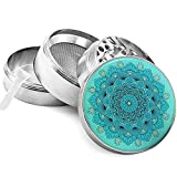 "Pilot Diary Mandala Series Zinc Alloy 4 Piece Herb Grinder with Pollen Catcher Silver (2"")"