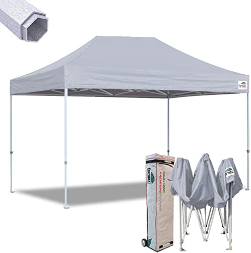 Eurmax 10×15 Ft Premium Ez Pop up Canopy Instant Canopies Shelter Outdoor Party Gazebo Commercial Grade Bonus Roller Bag Grey