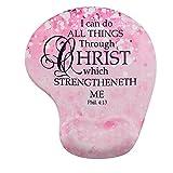 Memory Foam Mousepad with Wrist Support, Custom Bible Verse Pink Sparkles Glitter Pattern Mouse Pad Wrist Rest, Super Non-Slip PU Base