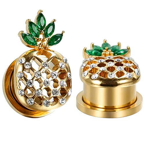 - KUBOOZ COOEAR Surgical Steel Ear Gauges Cool Pineapple Tunnels and Plugs Piercing Elegant Stretchers Golden Earrings Size 2g(6mm) to 5/8 inch(16mm)