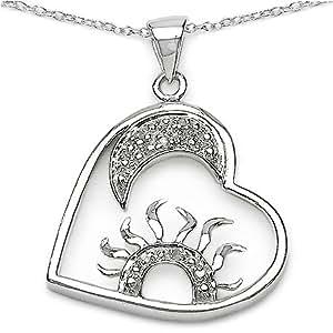 Joyas Schmidt-Collar / cadena de plata 925 con Sol, la Luna, Corazón Circonita Colgante