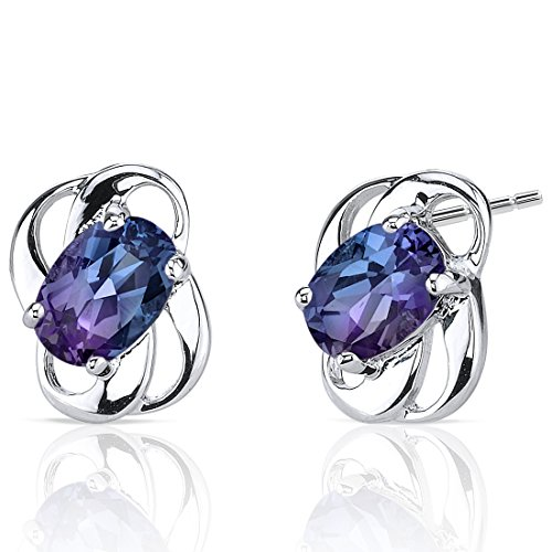 (Simulated Alexandrite Earrings Sterling Silver 2.00 Carats)