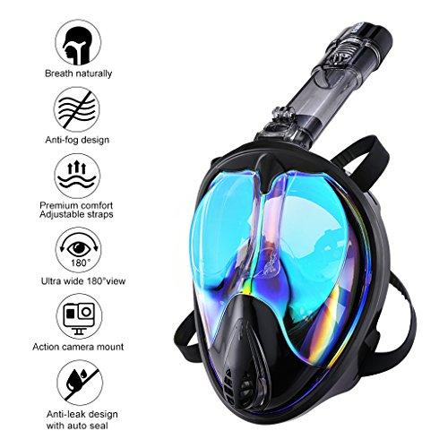 ENKEEO Full Face Snorkel Mask 180° Large Vision Mirror Lenses Anti Fog UV 400 Dry Top Technology, Detachable Breathing Tube (L/XL, Black) ()