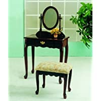 Roundhill Furniture Queen Anne Style Wood Makeup Vanity with Mirror and Bench, Cherry Finish