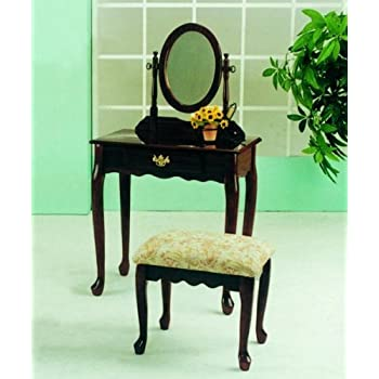 Cherry Wood Makeup Vanity.Roundhill Furniture Queen Anne Style Wood Makeup Vanity With Mirror And Bench Cherry Finish
