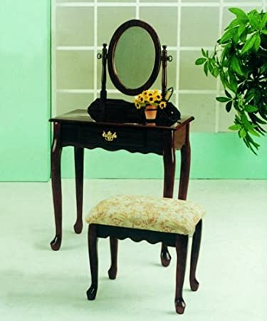 Amazoncom Roundhill Furniture Queen Anne Style Wood Makeup