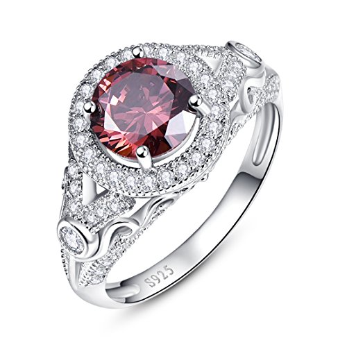 Merthus Womens 925 Sterling Silver Created Spessartine Garnet Halo Engagement Ring