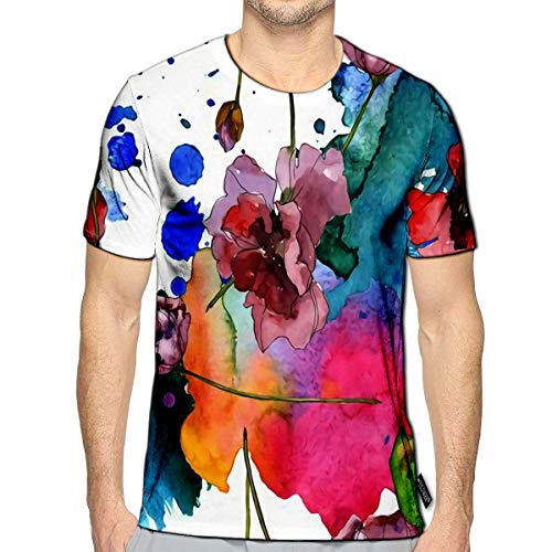 T-Shirt 3D Printed Purple Red Poppy Floral Botanical Flower Wild Spring Leaf Watercolor Set Water Casual Tees e