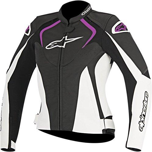 Alpinestars Women's Stella Jaws Leather Jacket(Black/White/Pink,EU 48)