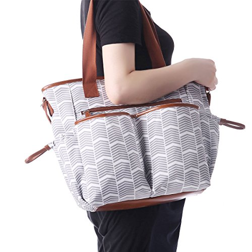 Inteligente itchykoo Baby bolso cambiador, Multi Función Baby Pañales Bandolera portátil bolsa de la compra con cambiador, mamá bolso, Gris