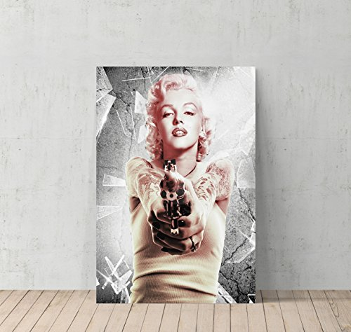Marilyn Monroe with Gun Canvas Print Decorative Art Modern Wall Décor Artwork - %100 Handmade in the USA