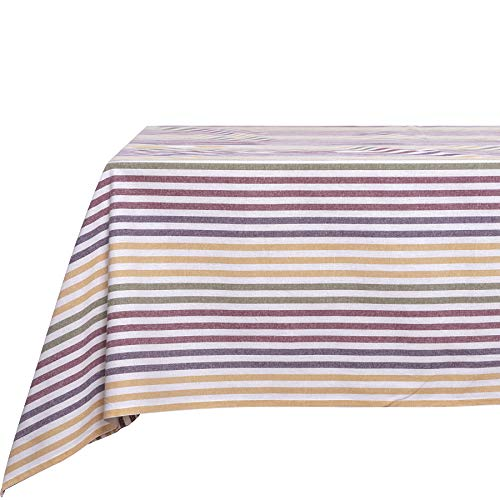 Basicome Striped Cotton Tablecloths for Family Gathering, Large Tablecover for 6-8 Seats Table, 57x94.5 Inch Christmas Table Linens, Striped Striking Purple ()