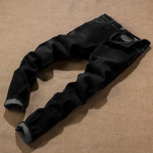 Classiche In Da Pantaloni Jeans Ragazzi Denim Oversize Traspiranti Nero Stretch Dritti Casuali Uomo Lunghi ffvzx
