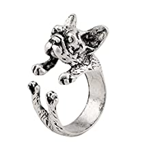 Vintage Handmade French Bulldog Animal Wrap Ring Love Gift for Women and Girls Adjustable Jewelry