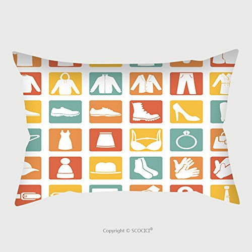 Custom Satin Pillowcase Protector Vector Set Of Color Square Wear Icons 197730488 Pillow Case Covers Decorative by chaoran