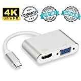 USB C to HDMI VGA Adapter, High Speed and Stability Type C to HDMI VGA Adapter for Macbook Pro Chromebook Pixel Dell Lenovo, LiBangTai