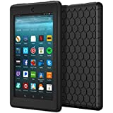 MoKo Case for All-New Amazon Fire 7 Tablet (7th Generation, 2017 Release Only) - [Honey Comb Series] Light Weight Shock Proof Soft Silicone Back Cover [Kids Friendly] for Fire 7, Black