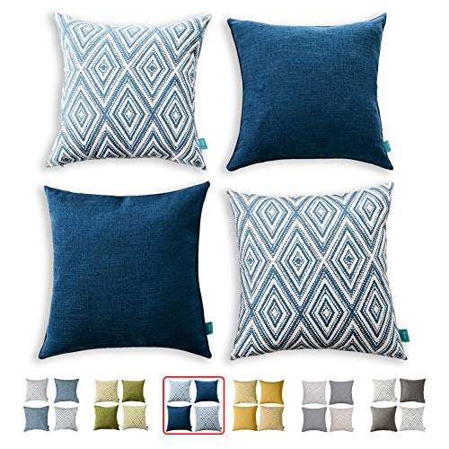 HPUK Decorative Pillow Covers Couch Pillow Covers Throw Pillow Covers for Couch, Sofa, Bed, 17x17 Inch Set of 4 Polyester Farmhouse Pillow Covers, Navy