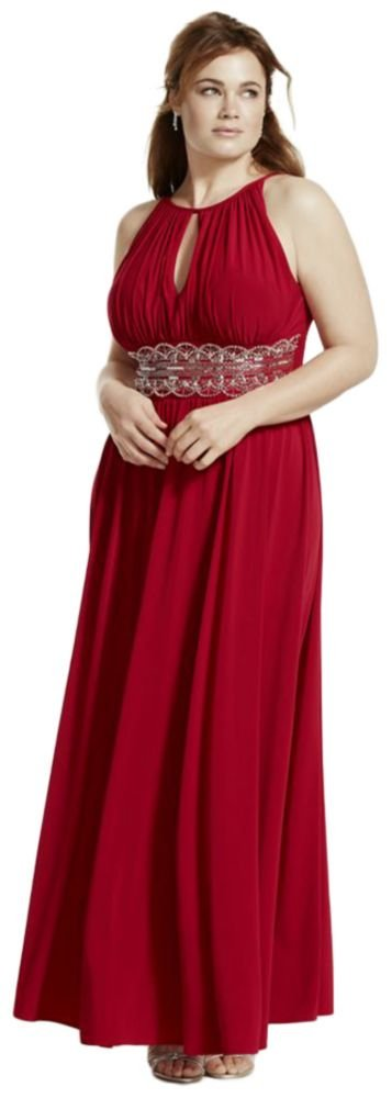 Sleeveless Keyhole Beaded Waist Plus Size Dress Style 1298W, Red, 18W by David's Bridal