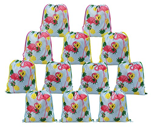 BeeGreen Hawaiilian Luau Flamingo and Pineapple Party Supplies Bags for Kids Girls Boys 12 Pack, Drawstring Gifts Pouch for Birthday Party -