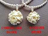 Libaraba Tagua Nuts Peony Flower Pendant Beads Chain Necklace with Jewelry Box,Long Peony Necklace for Women (White)