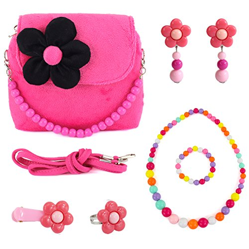 CMK TRENDY KIDS Kids Plush Flower Handbag Set with Hair Clip + Necklace + Bracelet + Earrings + Ring Small Purse for Little Girls and Toddlers (82000_Hotpink)
