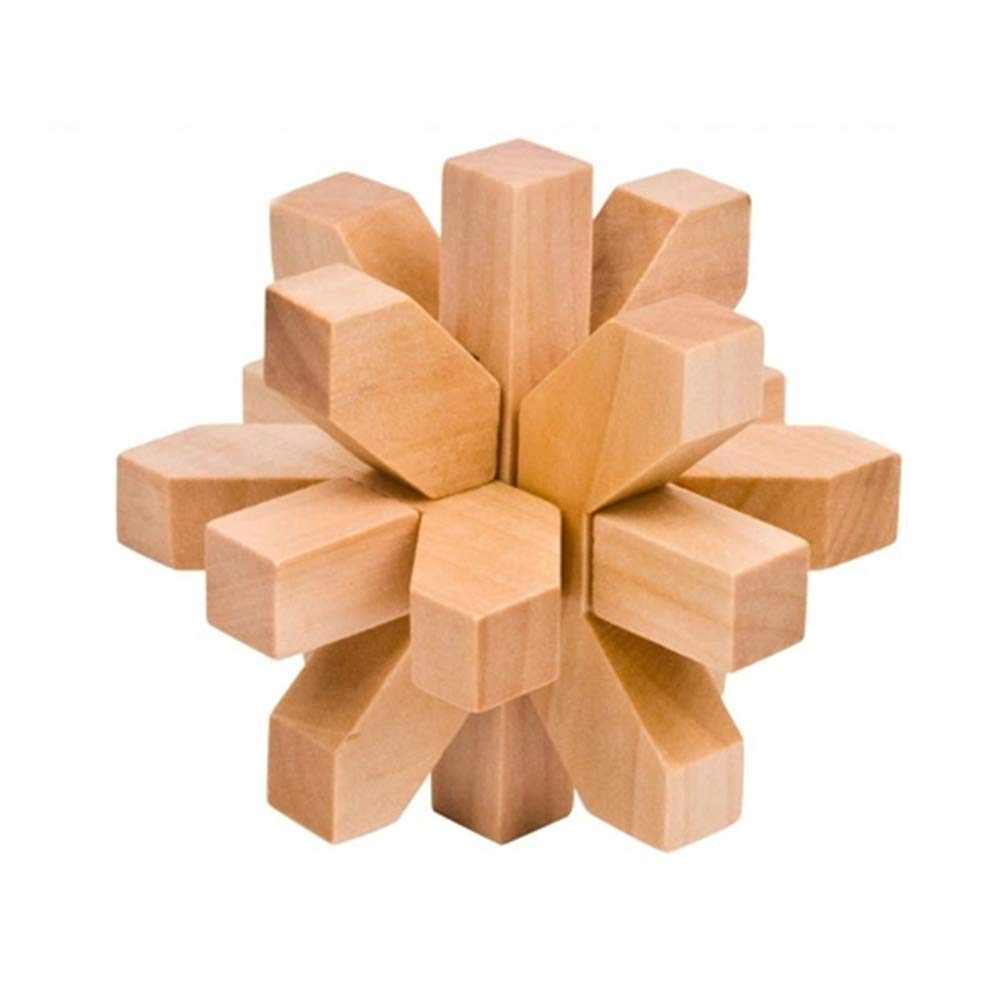 JIAAE Children Puzzle Plum Lock Wooden Rice Lock Unlock Toy