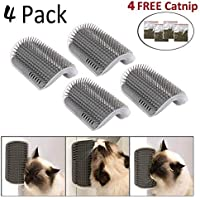 4 Pack Cat Self Groomer with Catnip,Cat Wall Corner Massage Comb Grooming Brush Massage Tool for Cats with Long and Short Fur