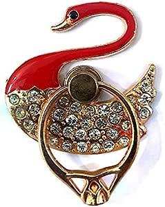 مسكة جوال خاتم مع كرستال شكل البجعة