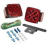 "Lighting Technologies LT543 Red LED Submersible Trailer Light Kit (Trailers Under 80-"" Wide)"