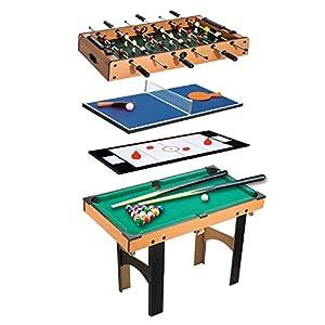 Homcom Table Multi Jeux 4 en 1 babyfoot Billard air Hockey ping-Pong avec Accessoires MDF Bois 87 x 43 x 73 cm 3