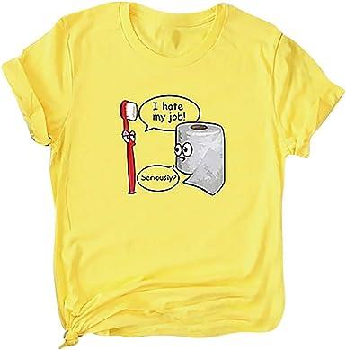 Luckycat Camisetas de Mujer Manga Corta Impresión de Dibujos Animados Blusa Camisa Cuello Redondo Basica Camiseta Suelto Verano Tops Casual Fiesta T-Shirt Original tee: Amazon.es: Ropa y accesorios