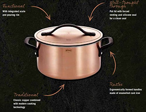 Rösle Chalet - Copper and Stainless Steel 7-Piece Cookware Set - 3 Stockpots, 1 Saucepan, 3 Lids