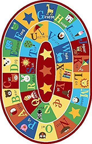Furnish my Place 745 4x6 Kids ABC Animals Children Rug Anti Skid Oval, 4'4'X6'9', Multicolor