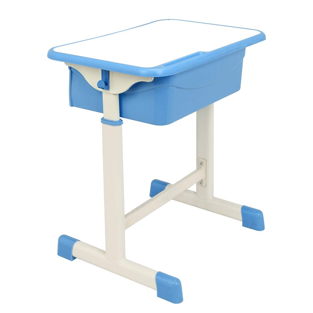 FCH Children's Desk and Chair Set,Height Adjustable Desk and Chair with Hanging Hooks and Pencil Groove (Blue) by FCH (Image #4)