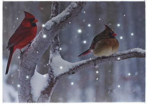 Oak Street Cardinals On Snowy Branch LED Art 8