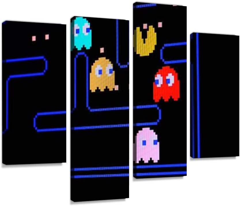 Vintage Pacman Video Game Canvas Wall Art Painting Pictures Modern Artwork Framed Posters for Living Room Ready to Hang Home Decor 4PANEL