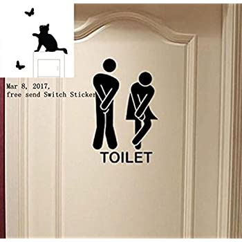 Removable Cute Man Woman Washroom Toilet WC Wall Sticker Family DIY Decor  Art Stickers Home Decor Part 58