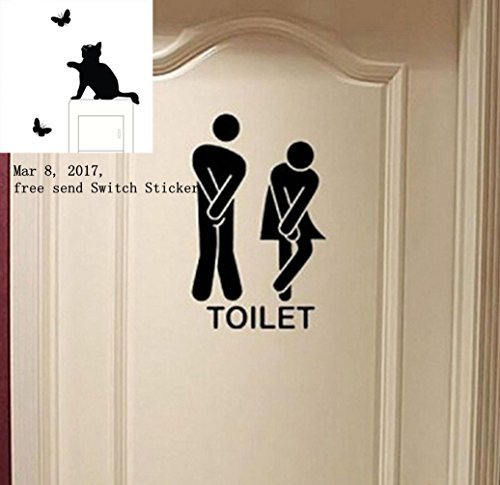 Usstore Removable Cute Man Woman Washroom Toilet WC Wall Sticker Family DIY Decor Art Stickers Home Decor Wall Art for Kids Living Room Home Decoration Only 1 Piece WC Sticker Include