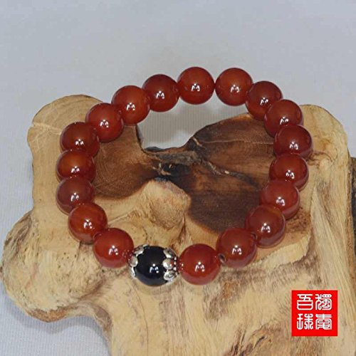 (Natural red agate black onyx bracelet Tibetan silver beads natal open transporters crystal jewelry male and female models couple)