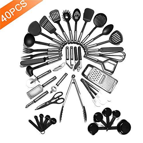 - Kitchen Utensil Set - 40 Nylon Cooking Utensils - Kitchen Utensils with Spatula - Kitchen Gadgets Cookware Set - Best Kitchen Tool(BPA Free NON Toxic-40pcs Black)