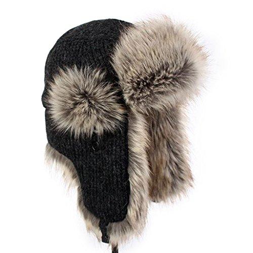 Fur Trapper (LETHMIK Winter Faux Fur Hunting Hat Unisex Trapper Russian Aviator Trooper Hat Black Regular size  7 1/4 - 7 5/8  22 3/4 - 24 IN)