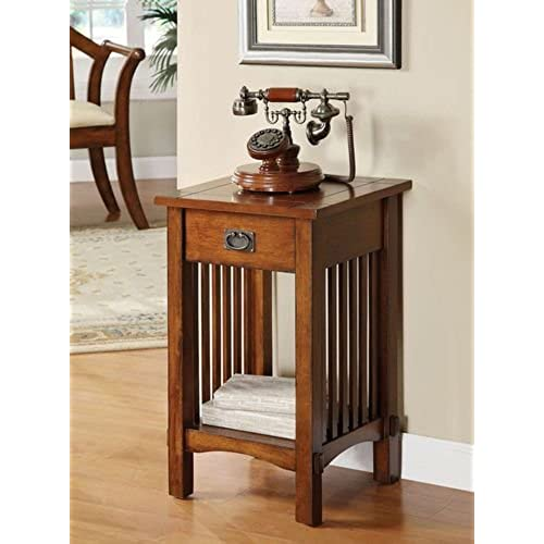 Legacy Decor Mission Style Telephone Stand / End Table in Antique Oak  Finish w/ Drawer - Antique Oak Furniture: Amazon.com