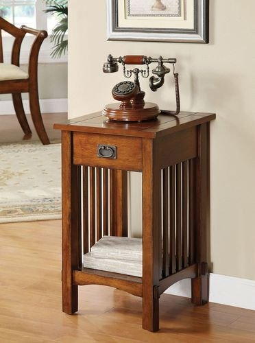 Mission Telephone Table - Legacy Decor Mission Style Telephone Stand / End Table in Antique Oak Finish w/ Drawer