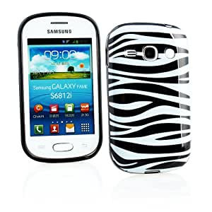 Kit Me Out ES ® Funda de gel TPU + Cargador para coche + Protector de pantalla con gamuza de microfibra para Samsung Galaxy Fame S6810 - Negro, Blanco Cebra